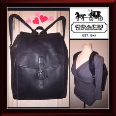 "VTG Coach Lg Distressed Blk Leather Tote Backpack! Vintage COACH Large Black Distressed Leather Tote Backpack! 100% authentic bag, glove-tanned leather, silvertone hw, top handle, drawstring closure under flap clip lock closure, adj back comfy straps, front compartment w/ pocket & two pen holders, lined, int zip pocket & Coach hang tag. Coach creed & serial no. 5099 on inside. 12""L x 15""H x 5.5""W. Patch on back of one strap which cannot be seen. Minor ext scratches & trim wear. Nice natural…"