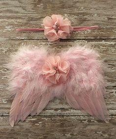 Look what I found on #zulily! Pink Flower Headband & Wing Set #zulilyfinds