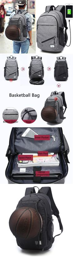 US$32.94 Outdoor Travel Canvas Backpack_ 17'' Laptop Bag_ Basketball Bag With USB Socket