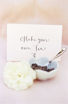 Tea Party Bridal Shower Make Your Own Tea!  I love the idea of a tea party shower theme :)