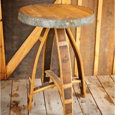 repurposed wine barrel made into a side table arched napa valley wine barrel