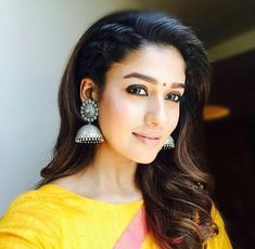 Hooded Eye Makeup, Hooded Eyes, Nayanthara Hairstyle, Diamond Earrings, Drop Earrings, South Indian Actress, Celebs, Celebrities, Indian Jewelry