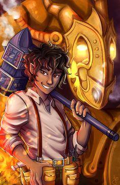 ryuuringo:  Hephaestus son  I think I will do this with more demigods  the hammer is hephaestus' symbol, but I HAD to draw festus too!