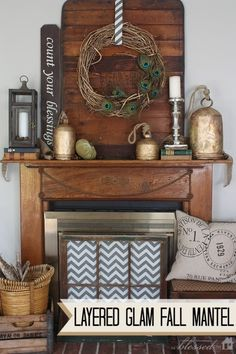 Layered Glam Fall Mantel by My Blessed Life, featured on http://www.funkyjunkinteriors.net/