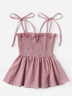 Shop Frill Trim Pleated Cami Top at ROMWE, discover more fashion styles online. Girls Fashion Clothes, Teen Fashion Outfits, Cute Fashion, Girl Fashion, Girl Outfits, Cute Summer Outfits, Cute Casual Outfits, Pretty Outfits, Mode Pastel