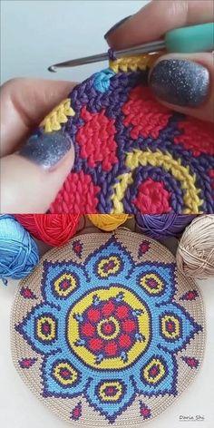 Crochet Towel, Crochet Art, Tapestry Crochet, Crochet Crafts, Crochet Hooks, Crochet Projects, Free Crochet, Crochet Earrings Pattern, Crochet Mandala Pattern