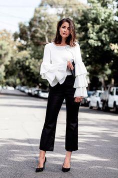 blusa de babados branca