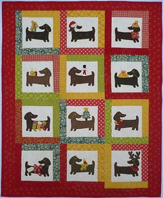 Quilt-PATTERN-Yule-dog-Dachshund-applique-puppy-Christmas-winter-holiday