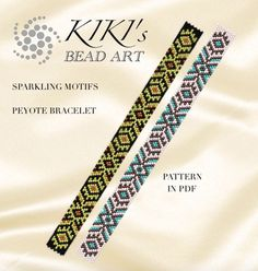 These are my own designed peyote bracelet patterns in PDF format, downloadable directly from Etsy. These patterns are for my Sparkling motifs peyote bracelets. Both versions are created in odd, single peyote. The pdf file includes: 1. a large picture of the pattern 2. a large, detailed graph of the pattern, 3. a bead legend with the colour numbers and count of the delica beads for the suggested length 4. a word chart of the pattern. Please note that my patterns do not include instructions…