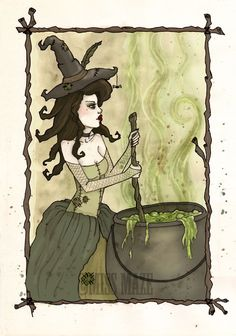 green, cauldron, spells, magic, Wychcraft Sisters by Miss Maze, via Behance