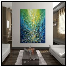 XL Turquoise Blue — Original Artwork Modern Art Oil Painting On Canvas by…
