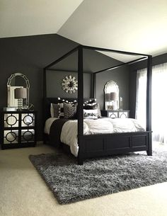 Simple Black Bedroom Canopy Decorating Ideas