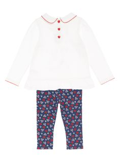 Crafted purely in natural cotton with a festive embroidered design, this pretty set will make a perfect addition to your little one's winter collection.  Girls cream Christmas jersey legging set  Pure cotton  Embroidered design  Peter Pan collar  Ruched shoulder  Peplum hem  Long sleeve  Stretch waist  Keep away from fire