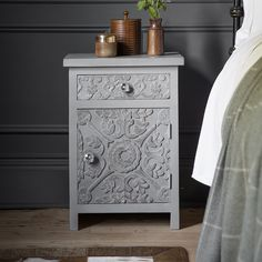 For a practical and stylish addition to the bedroom, the Atika Grey Carved Bedside Cabinet can be used as a single cabinet or as a matching pair on either side of the bed. Bedside Drawers, Bedside Cabinet, Chest Drawers, Furniture Sale, Furniture Makeover, Painted Furniture, Side Tables Bedroom, Cabinet Plans, Dream Decor