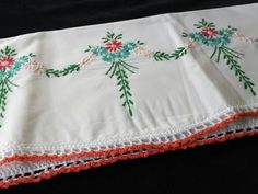 Vintage-Embroidered-Flower-Bouquet-Pillowcase-with-Crocheted-Trim