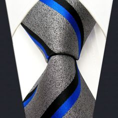 S11 Stripes Gray Blue Black Grey Mens New Necktie Ties Extra Long Size Fashion 100% Silk Jacquard Woven