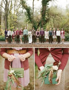 Oh my gosh! I love the cardis, and the mismatched, and how the guys are mismatched, and the book bouquet, and.... this will be my wedding :)