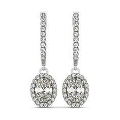 Allurez Oval Cut Halo Diamond Drop Earrings in 14k White Gold (1.40ct) ($3,560) ❤ liked on Polyvore featuring jewelry, earrings, white, white dangle earrings, 14k earrings, diamond earrings, white earrings and dangle earrings
