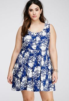Forever 21 Plus Size Floral Print Buttoned Dress