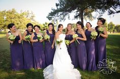 Purple dresses...green hydrangeas?