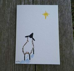 Sheep gazing up to the North Star Original Painting on a 5 x 7 Greeting Card with Envelope.......Blank Inside for your own Personal Message. You can also frame these little paintings I have a photograph of them fitting into a 8 x 10 Mat. Details: Title: Sheep gazing up to the North Star