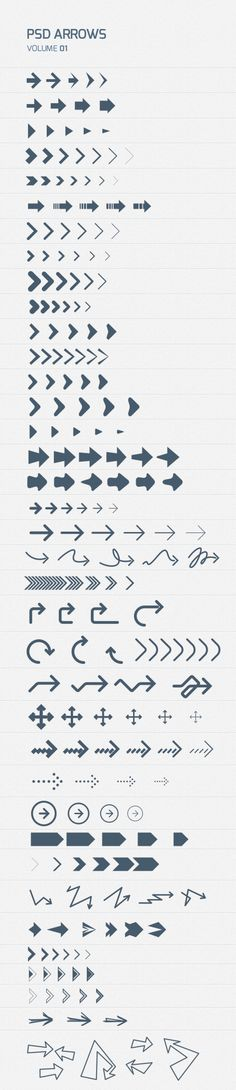A set of nicely designed psd photoshop arrows. All scaleable and editable in vector shapes and separated on layers. Design Web, Tool Design, Cv Inspiration, Graphic Design Inspiration, Icones Cv, Editorial Design, Responsive Layout, Signage Design, Design Graphique