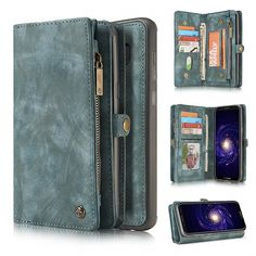 CaseMe Samsung Galaxy Plus Multi-slot Zipper Wallet Magnetic Folio Case Detachable 2 in 1 Back Cover can store up to 10 credit cards including 2 ID Picture Slot, 3 pocket for cash, 1 zipper storage coins. Galaxy S8, Samsung Galaxy, Cell Phones In School, Cell Phone Wallet, Samsung Cases, High Resolution Photos, S8 Plus, Leather Wallet
