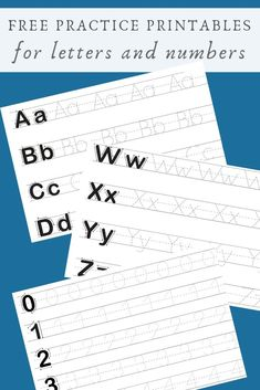 This free printable will help your little one with tracing letters and numbers. This is perfect for practice and homeshooling too. Free Preschool, Preschool Printables, Preschool Learning, Preschool Activities, Free Printables, Preschool Lessons, Learning To Write, Learning Letters, Alphabet Activities