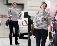 Jennifer Lawrence. Street Style. Striped shirt and Jeans.