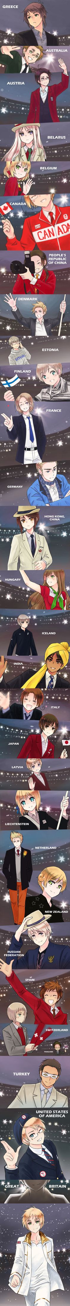 Hetalia-Olympic Parade   ERMAHGERD THEY DIDN'T FORGET HONG KONG AND INDIA AND ALL THE OTHERS THEY DIDN'T FORGET! AND BRITAIN LOOKS SO AMAZING!! ;u;