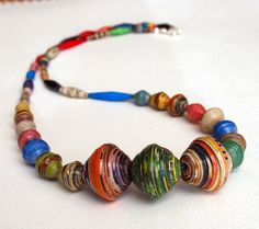 African Paper Necklace by Beads4joy on Etsy