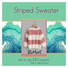"""ROMWE: Striped Sweater"" by bklana ❤ liked on Polyvore featuring bklana"