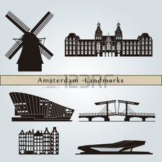 Amsterdam bezienswaardigheden en monumenten die op blauwe achtergrond in bewerkbare vector-bestand Stockfoto