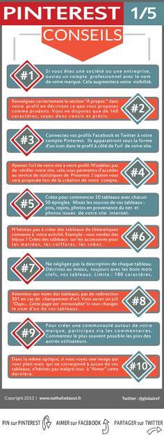 10 astuces pour débuter sur Pinterest; Série de 5 infographies. http://www.nathaliedaout.fr/10-astuces-debuter-pinterest-15/ #pinterest #infographie