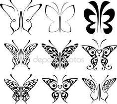 Herunterladen - Satz von Tattoo Schmetterlinge — Stockillustration #1040784