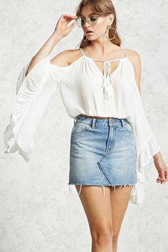 Forever 21 Contemporary - A gauzy woven top featuring an open-shoulder silhouette with drawstring shoulder straps, long bell sleeves with ruffle trim, self-tie V-neckline, and an elasticized hem.
