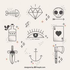 Коллекция линейных татуировок Бесплатные векторы