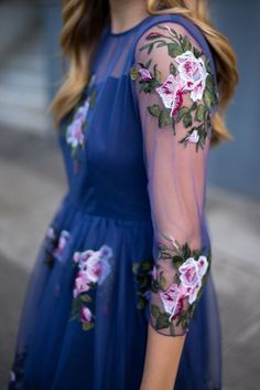 Cherished Rose Embroidered Mesh Dress by chicwish | Renda-se! - A swaying swaying silhouette of pink and white rose-embroidered sheer mesh,  only serve to add more style to navy-blue dress featuring a sweetheart bodice.