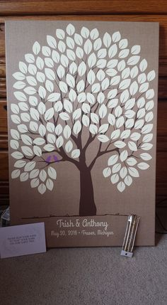 Burlap Wedding Tree Canvas | Guest Book Alternative | 150 Signature Spaces…