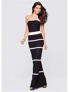 Rochie tricotata lunga neagra cu dungi albe Summer