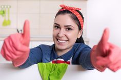 Cleaning lady showing thumbs up - Stock Photo , Kitchen Photos, Food Photo, Spin, Cleaning, Stock Photos, Ideas, Art, Craft Art, Kunst