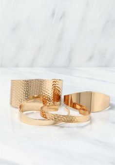 Plus Size Clothing | Textured Thick & Thin Cuff Bracelet Set | Debshops