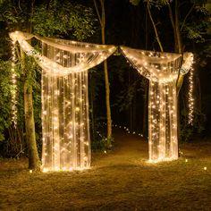 String Lights Outdoor Wedding - New ideas Wedding Backdrop Design, Desi Wedding Decor, Prom Decor, Outdoor Wedding Decorations, Wedding Themes, Wedding Designs, Aisle Decorations, Wedding Ideas, Wedding Night