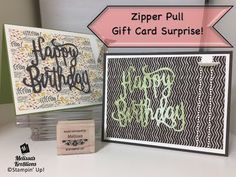 Zipper Pull Gift Card Surprise! - Stampin' Up! - Melissa's Kre8tions - YouTube