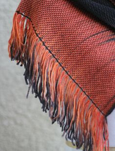 Hand woven scarf made in pooling technique. This means that color is gradually changes from black to orange. My scarves are unique and OOAK as it is almost impossible to ma... #kgthreads #halloween