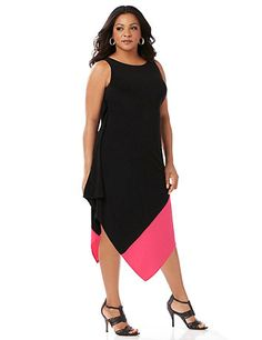 A bold block of color sweeps across the hem of this dress for a simple and beautiful effect. The pull-on design is comfortable and easy to wear, and darting at the bust helps shape your silhouette. The flowing asymmetrical hemline gives a breezy finish. Sleeveless. Scoop neckline. Sleeveless. Catherines dresses are expertly designed for the plus size woman. catherines.com