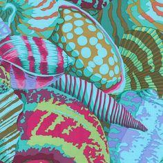 Philip Jacobs Fabric, Shell Montage Aqua (per 1/4 metre)