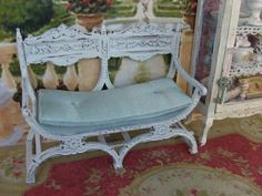 Dollhouse Miniature Exquisite 12th Century Two-Seater Settee - White ...