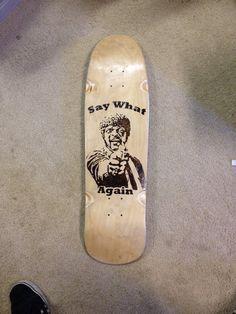 Wood burned skateboard by CandlestickCloset on Etsy