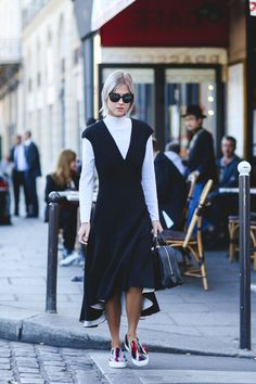 """The Best """"What IS She Wearing?"""" Looks From Paris #refinery29  http://www.refinery29.com/2015/10/95202/paris-fashion-week-spring-2016-street-style-pictures#slide-45  Once again, the white turtleneck prevails...."""